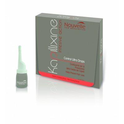 Средство против выпадения волос с экстрактом красного женьшеня в ампулах Nouvelle Kapillixine Ultra Drops 10 шт * 7 мл