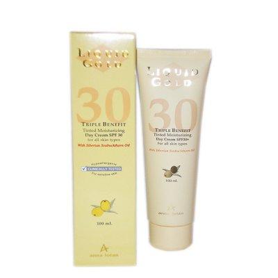 Крем увлажняющий солнцезащитный (Золотой) SPF 30 Anna Lotan Liquid Gold Triple Benefit Day Cream 100 мл